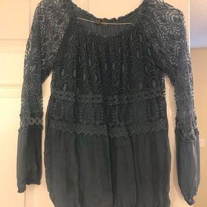 Long sleeve lace overlay shirt